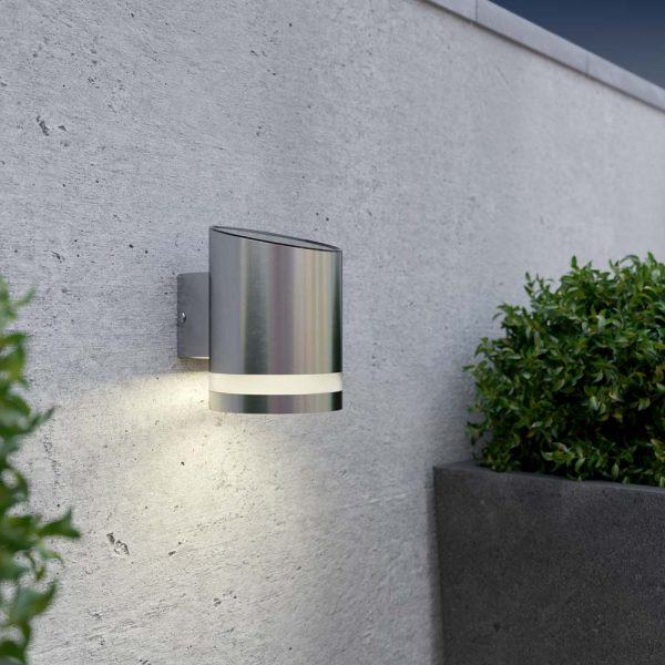 Solar wandlamp downlight rond – chroom