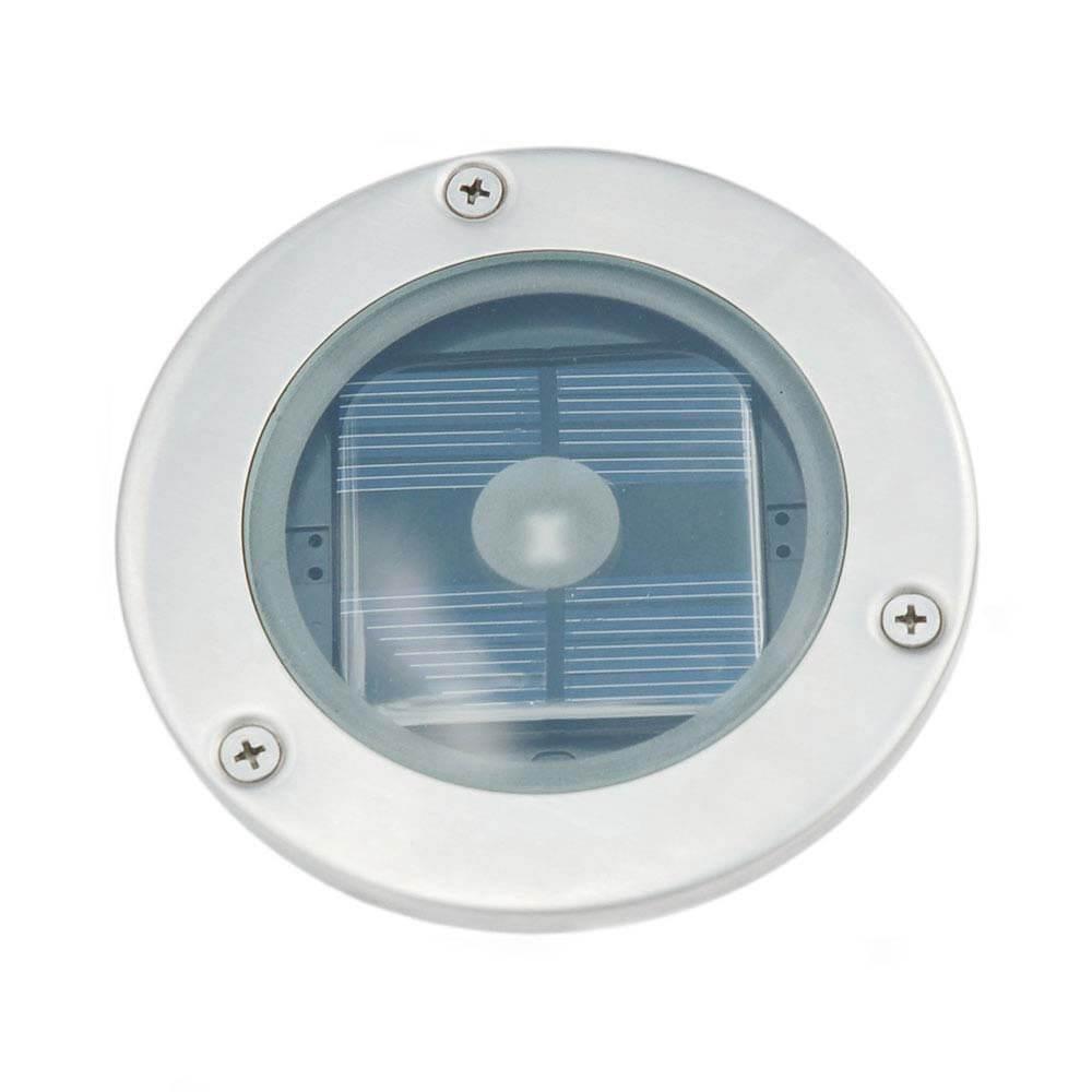 Solar grondspot LED rond chroom - Terrasverlichting