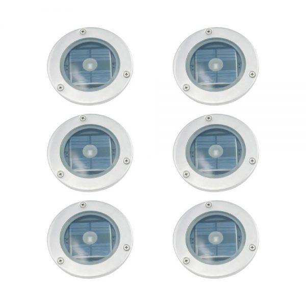 Solar grondspot LED rond chroom Terrasverlichting 6 stuks