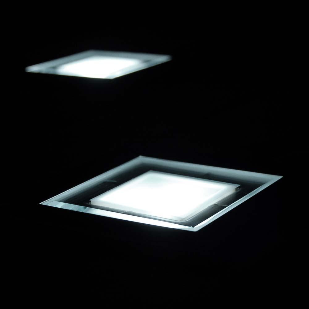 Solar grondspot LED vierkant chroom - Terrasverlichting