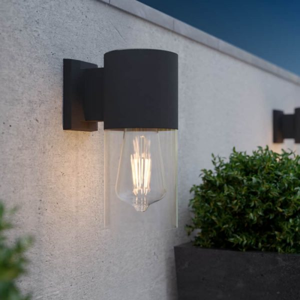 Solar wandlamp LED filament lamp - antracietgrijs