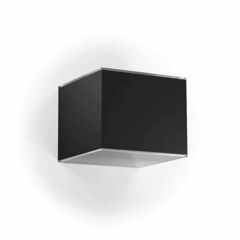 Solar wandlamp zwart kubus