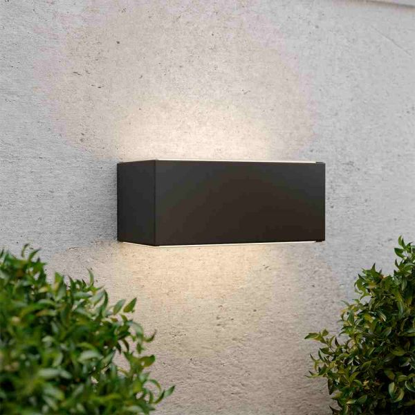 Solar wandlamp up downlight - XL - zwart